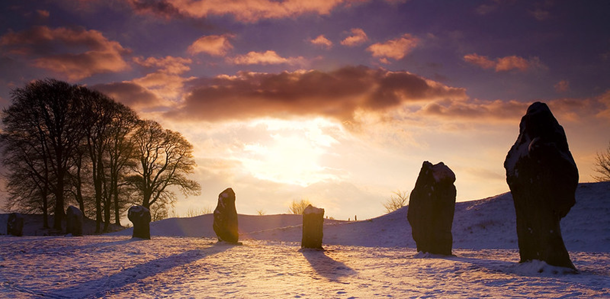 Winter snow amongst the stones at Avebury