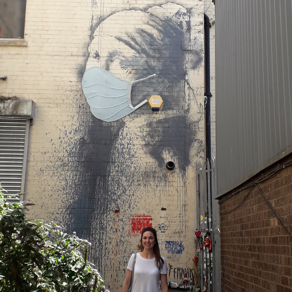 Mary with a Banksy artwork