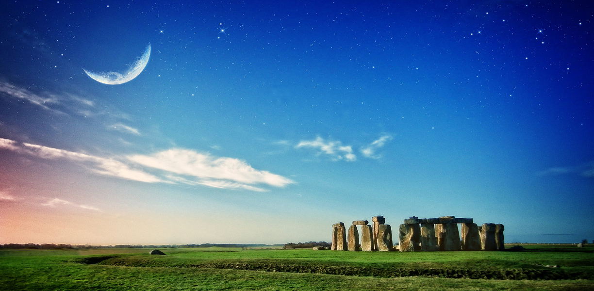Stars and the moon over Stonehenge