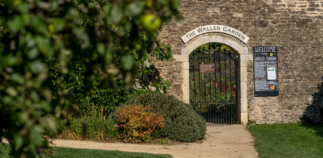 the entrance to the walled garden at Woolley Grange Hotel