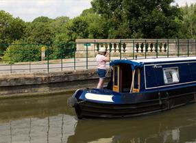 Canal boat crossing the aqueduct