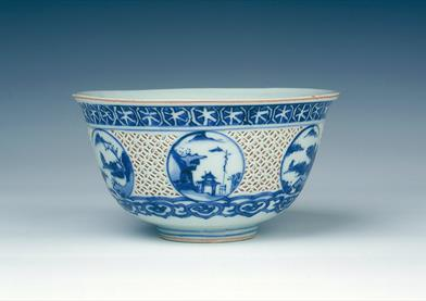 Reticulated blue and white bowl. Late Ming dynasty, 1600-1644 at Museum of East Asian Art