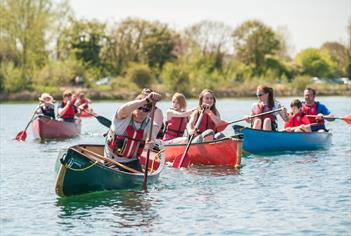 Canoeing in the lakes at Cotswold Water Park