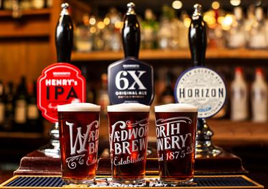 Beers on tap at Wadworth brewery
