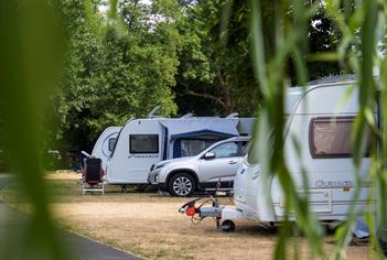 Caravans parked at Chertsey Camping and Caravanning Club Site