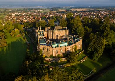 Aerial shot of Berkeley Castle